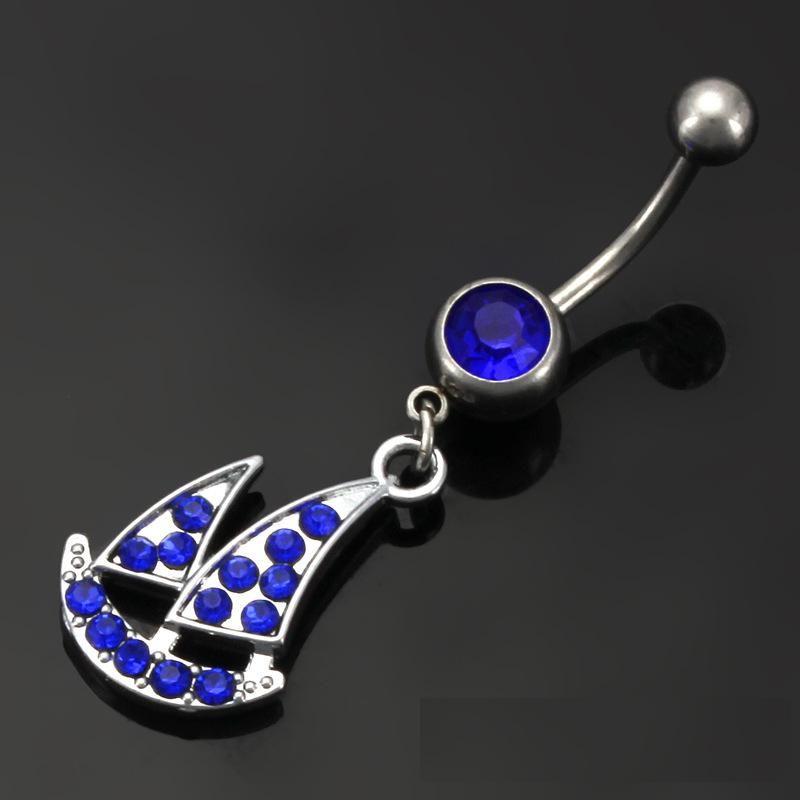 Les ventes directes d'usine en acier inoxydable strass en acier à voile bateau nombril anneaux nombril anneau piercing bijoux 5 couleurs pour les choix