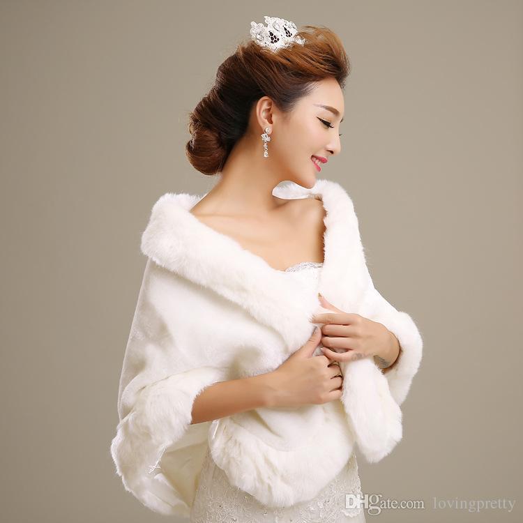 Jane Vini 2018 Elegant New Faux Fur Wraps Bridal Cape Jacket For Winter Wedding White Accessories Shawl Bride Fur Coats For Women