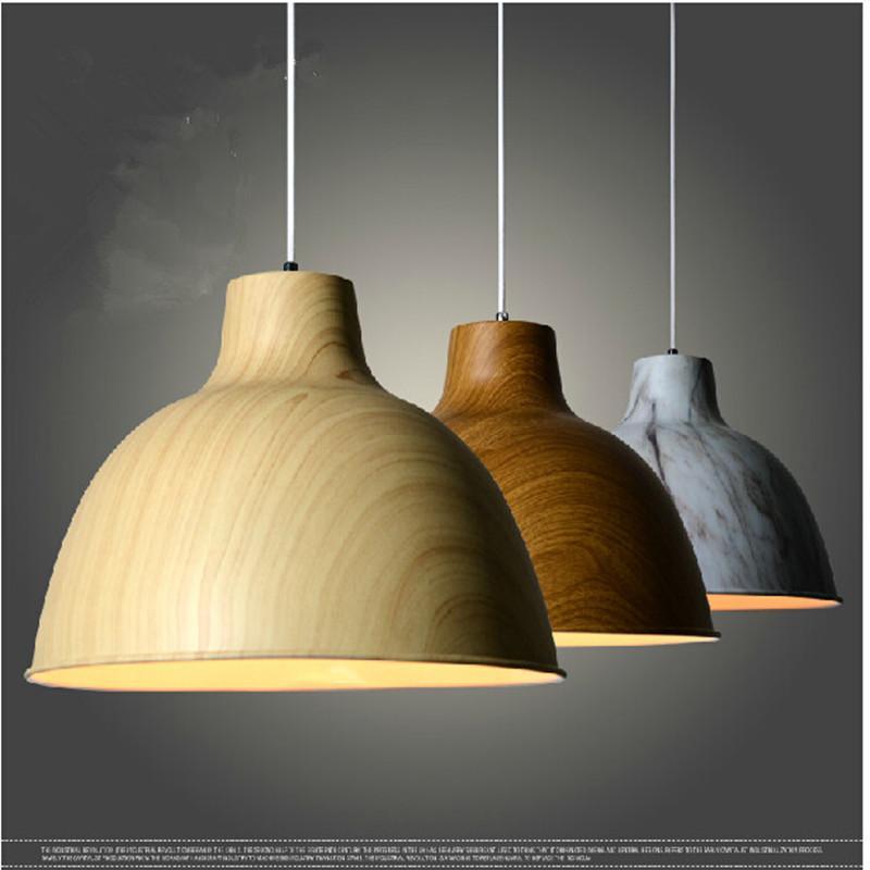 Discount Modern Lamps Pendant Lights Painted Wood Grain And Aluminum Lamp Restaurant Bar Coffee Dining Room Led Hanging Light Fixture Modern Pendant Lights