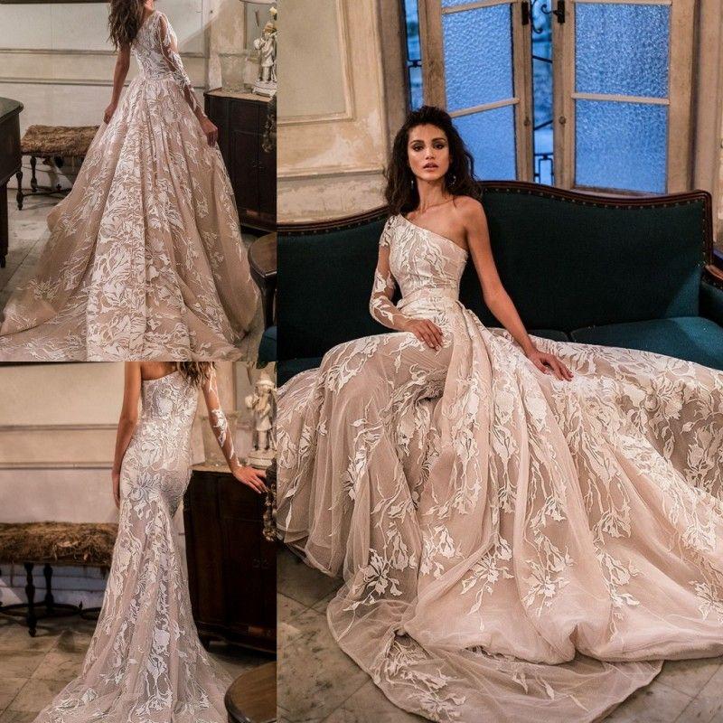 Discount Julie Vino Beach Wedding Dresses One Shoulder Applique Long