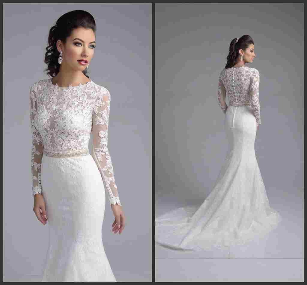 Full Lace Wedding Dresses With Long Sleeves Lace Bride Gowns ...