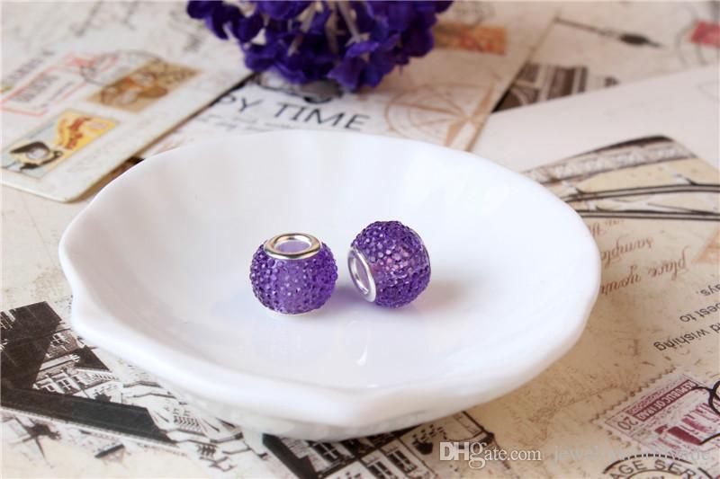 Light Purple Charm Bead 925 Silver Plated Fashion Women Jewelry Stunning European Style For Pandora Bracelet Necklace PANMB133