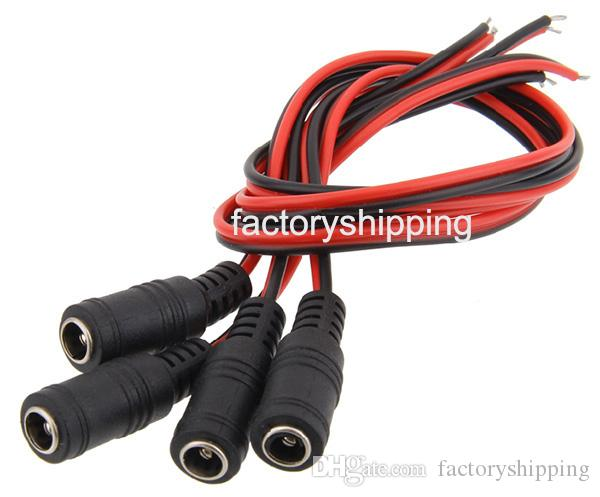 CCTV Female Male DC Wire Power Pigtails Plug Lead Cord Coax Cables 2.1mm For CCTV Cameras Fedex / DHL
