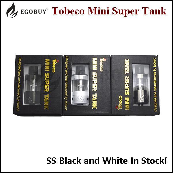 Autêntico Tobeco Super Tanque Mini com substituição 0.2ohm 0.5ohm bobina 4ml atomizador ss preto Branco supertank 22mm sub ohm atomizadores original