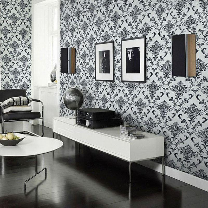 Damask 3d vinyl wallpaper waterproof black glitter silver for Black white damask wallpaper mural