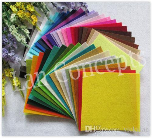 Frete grátis DIY Tecido De Poliéster De Feltro Não-tecido Folha para Trabalho Artesanal 42 Cores-150x150x1mm 210 pçs / lote LA0073