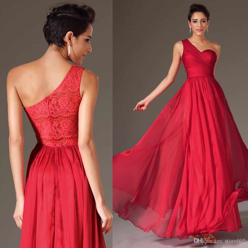 2016 red one shoulder elegant long chiffon lace wedding party wear see larger image ombrellifo Gallery