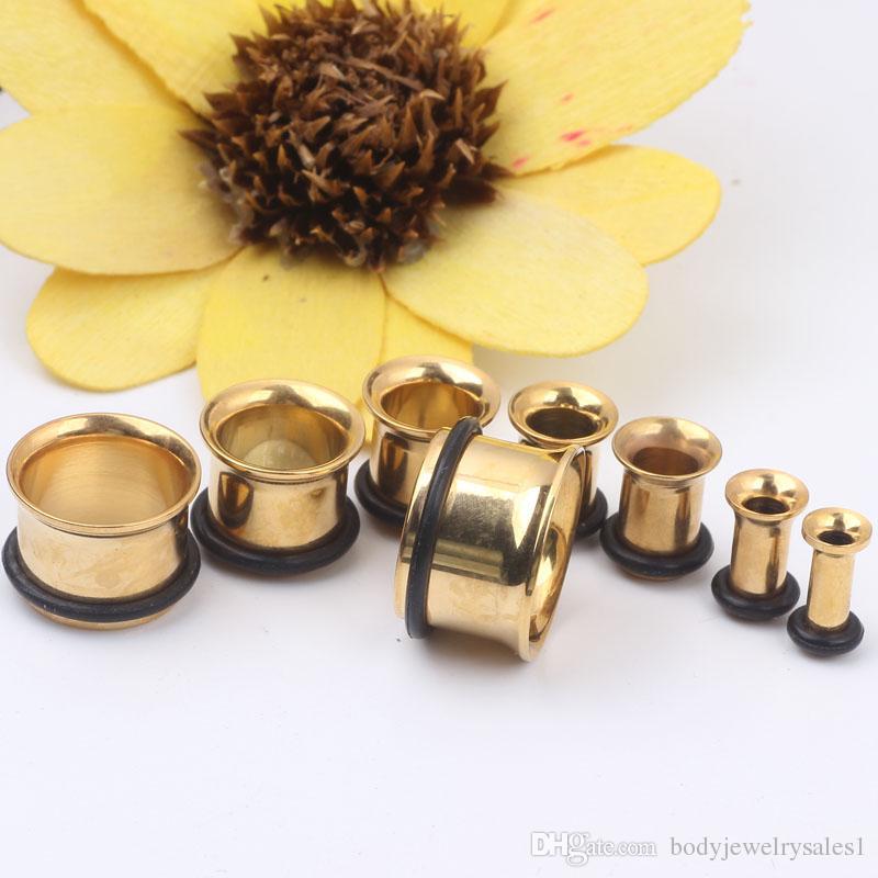 Blanda 3 ~ 14mm / guldmönster öronproppar Tunnelkropp Piercing smycken kötttunnel