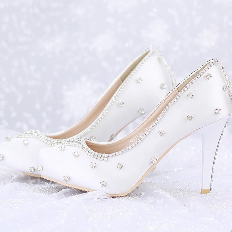 Closed Toe White Satin Wedding Shoes Rhinestone Prom Party High Heels  Luxurious Top Quality 8cm Heels Custom Handmade Platforms Low Heel Ivory Wedding  Shoes ... ce6ca7f3ee63