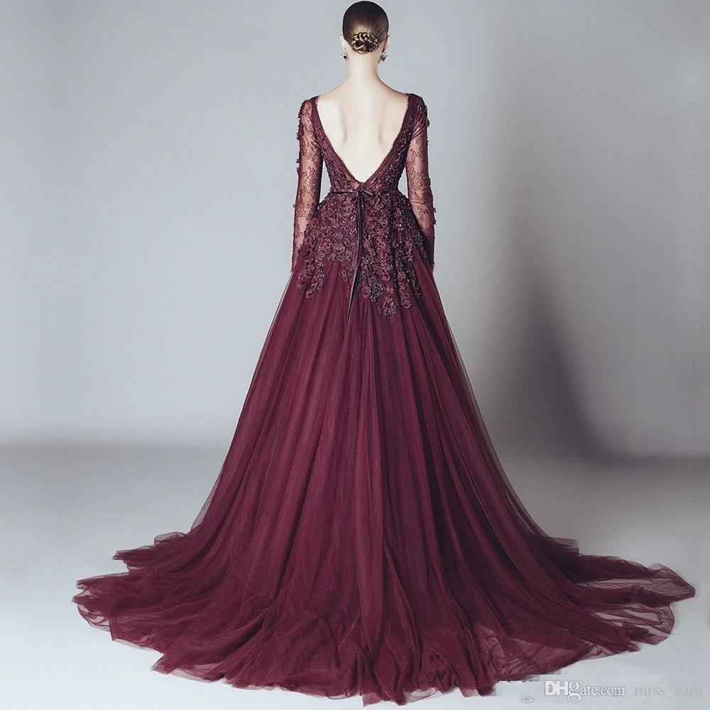 Elegant Lace Formal Burgundy Celebrity Evening Dresses Backless V Neck Long Sleeves 2017 Elie Saab Dress Arabic Party Gowns Cheap Prom Gown