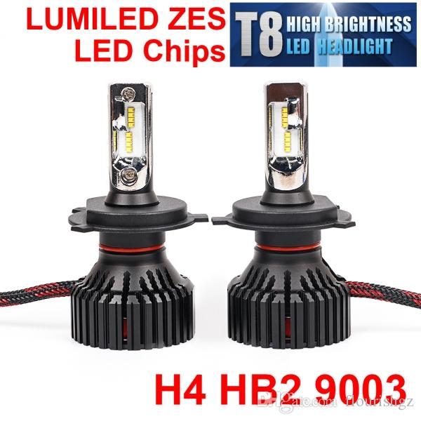 H4 H7 H8 H9 H11 H16 9005 9006 60W 8000LM T8 LED Headlight LUMILED 2nd ZES Chips Pure White 6500K All-in-one Ventola incorporata Lampadina HDriving