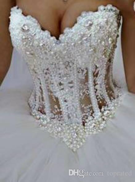 2019 vestido de baile vestidos de noiva querido espartilho ver através do comprimento do assoalho princesa vestidos de noiva frisado rendas pérolas custom made