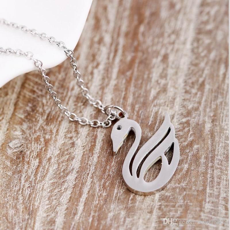 Minimalist Takı Sevimli paslanmaz çelik gümüş ton Kuş Kuğu Kolye Kolye Kadınlar hediye için drop shipping