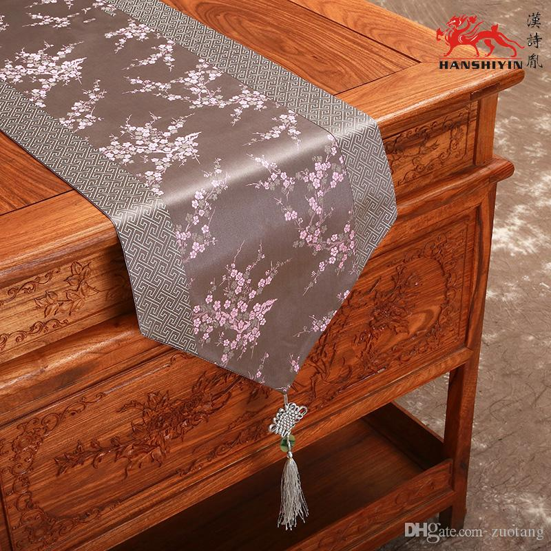 Patchwork Cherry Blossoms Table Runners Chinese Knot Luxury Damask Coffee  Table Cloth Dining Table Pads For Christmas Banquet Decorations Grey Table  Runner ...