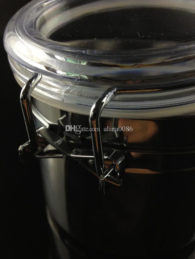 beste Qualität mittlerer Größe Edelstahl Airproof Topf Tobacco Box für Glas Smokng Wasserpfeife Bong frei Shiping