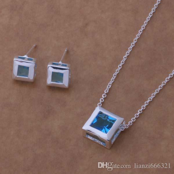 Mixed Fashion Jewelry Set 925 Silver necklace & earrings for women to send his girlfriend / wife gifts 1466