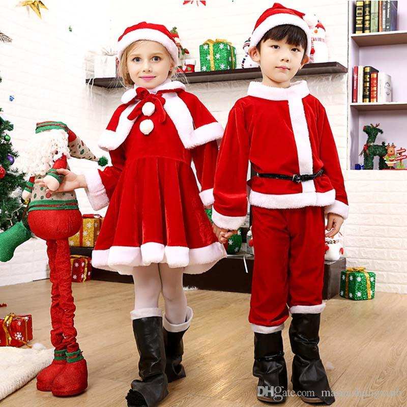 bc6d972239c7 2019 New Children'S Christmas Costumes Cosplay Special Occasions Plush Kids  Bags Santa Claus Clothes Suit Girls Dress Cloak Boys Pants Hats Sets From  ...