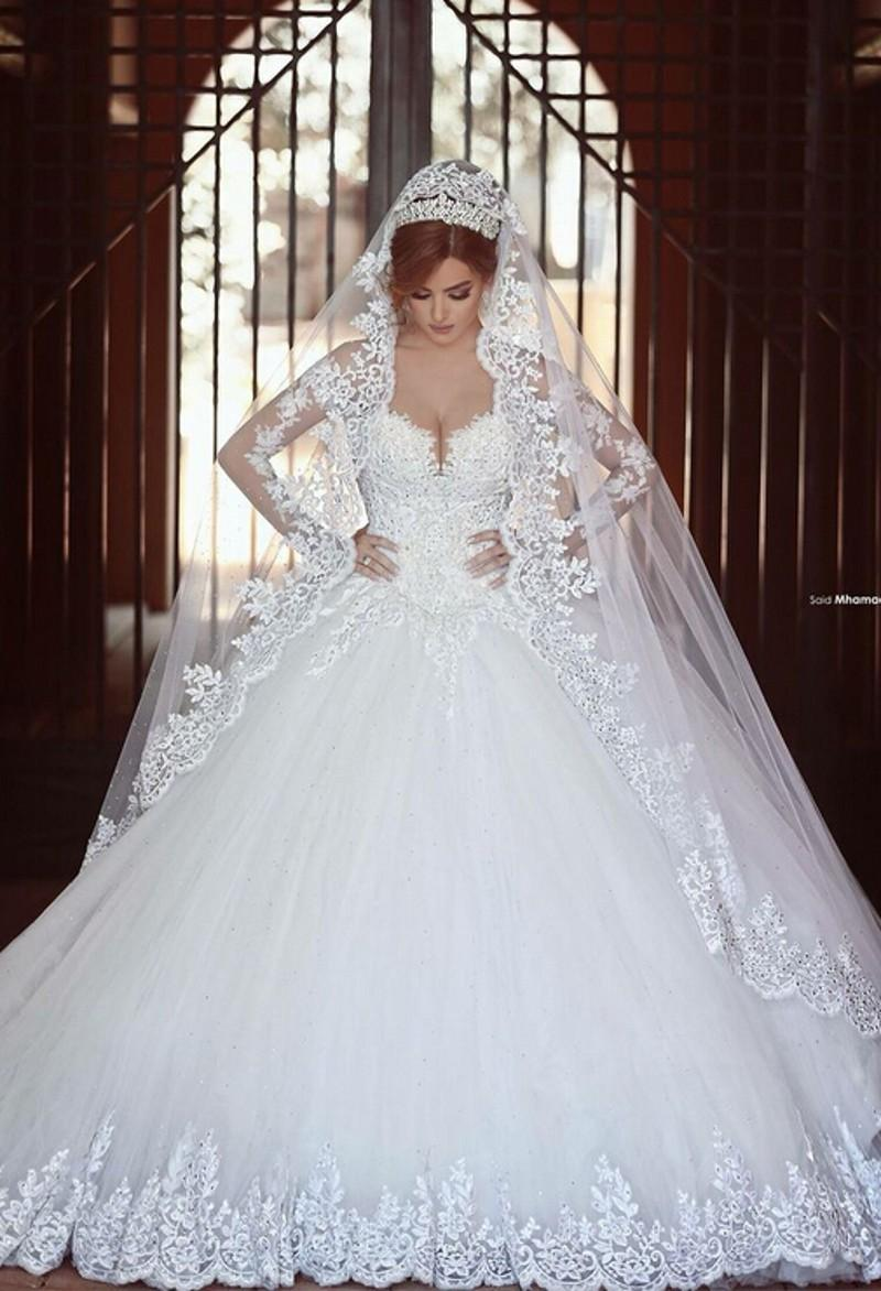Discount luxury lace ball gown wedding dresses with for Wedding dresses in dubai prices
