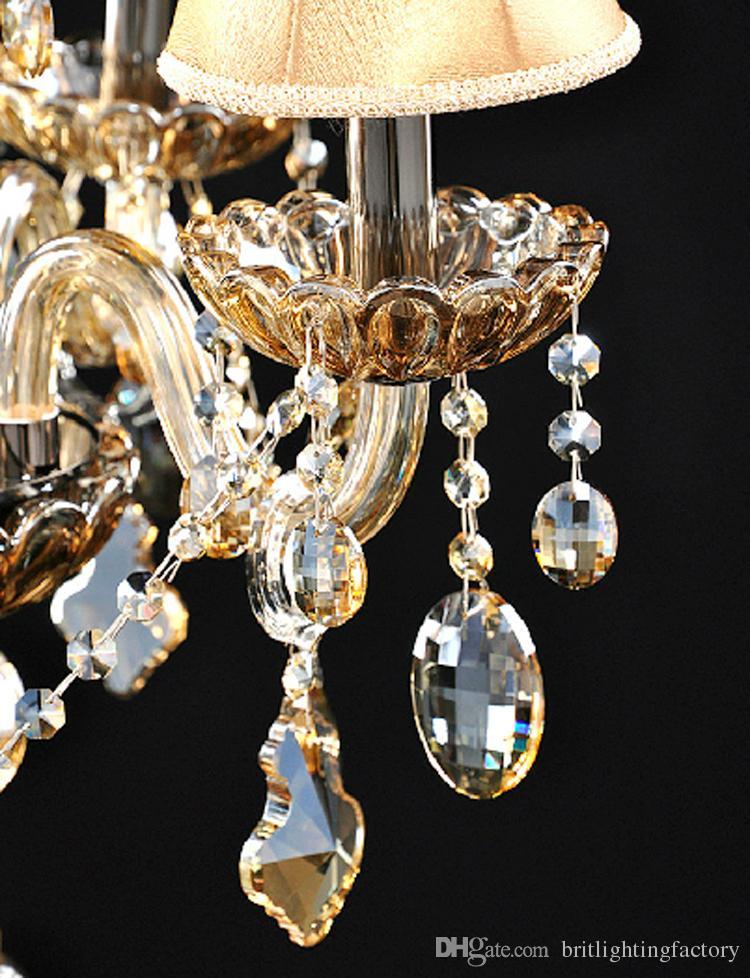 Lâmpadas de mesa moderna para o quarto candeeiro de mesa de cristal com sombra de tecido iluminação da tabela LED para sala de estar 5 luzes dest lâmpada para sala de casamento
