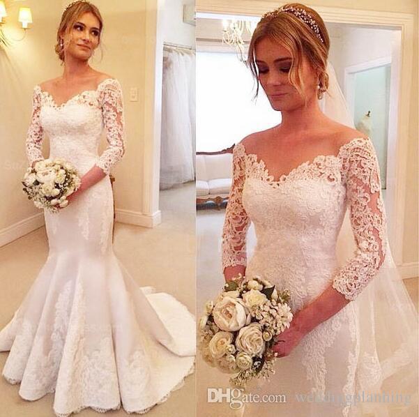 레이스 긴 소매 웨딩 드레스 섹시한 어깨 끄기 신부 가운 뒤로 덮여 버튼 스윕 기차 웨딩 드레스