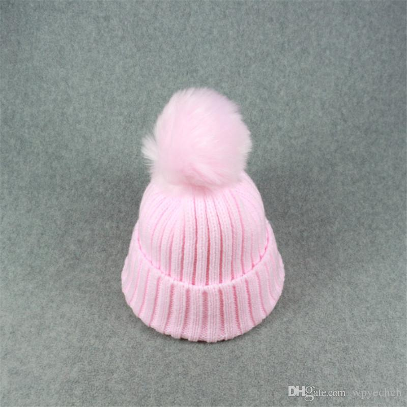 1-6 ages Baby Knitted Pom Poms Hat Solid Warm Cute Winter Hats Beanies for Kids Children Unisex Headwear Hat Skullies