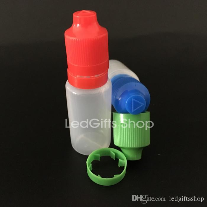 garrafas de plástico 15ml garrafa vazia garrafas PE plástico Conta-gotas com longos e finos Dicas inviolável Childproof Caps E Líquido Agulha Garrafa