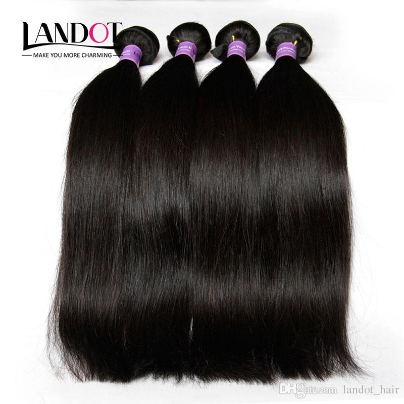 Perulu Düz Virgin İnsan Saç Kapatma Ile 4 adet / grup Işlenmemiş Perulu Saç Örgü Demetleri Ile Dantel Kapaklar Ücretsiz / Orta Kısmı