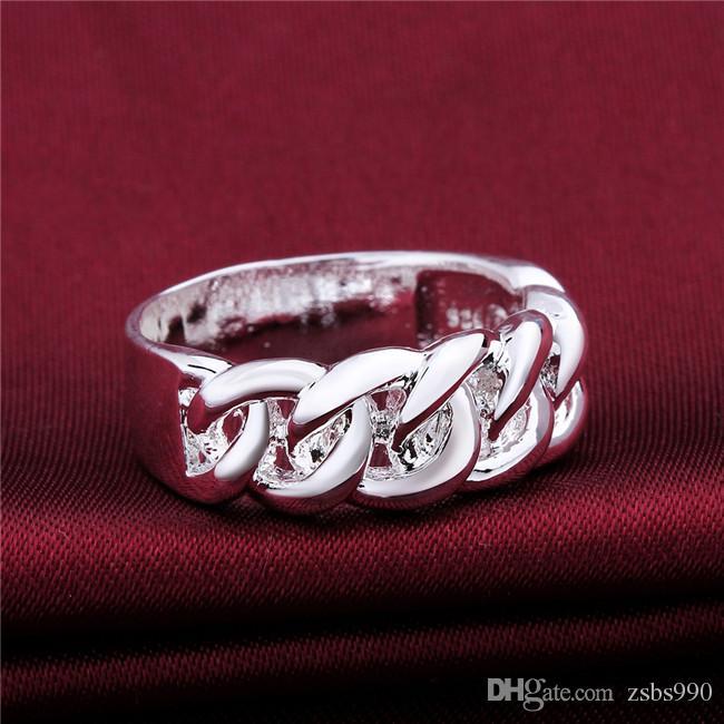 Top qualité mode bague en argent 7-8 # 925 bijoux en argent sterling unisexe livraison gratuite