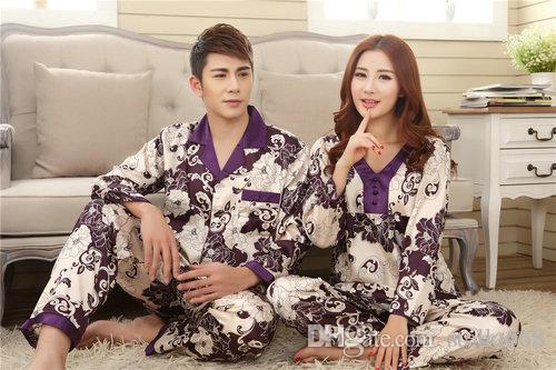 Faux silk mens pajama sets men lovers sleepwear male sleep&lounge Chinese red wedding Pijamas for women couple pajamas female pyjamas