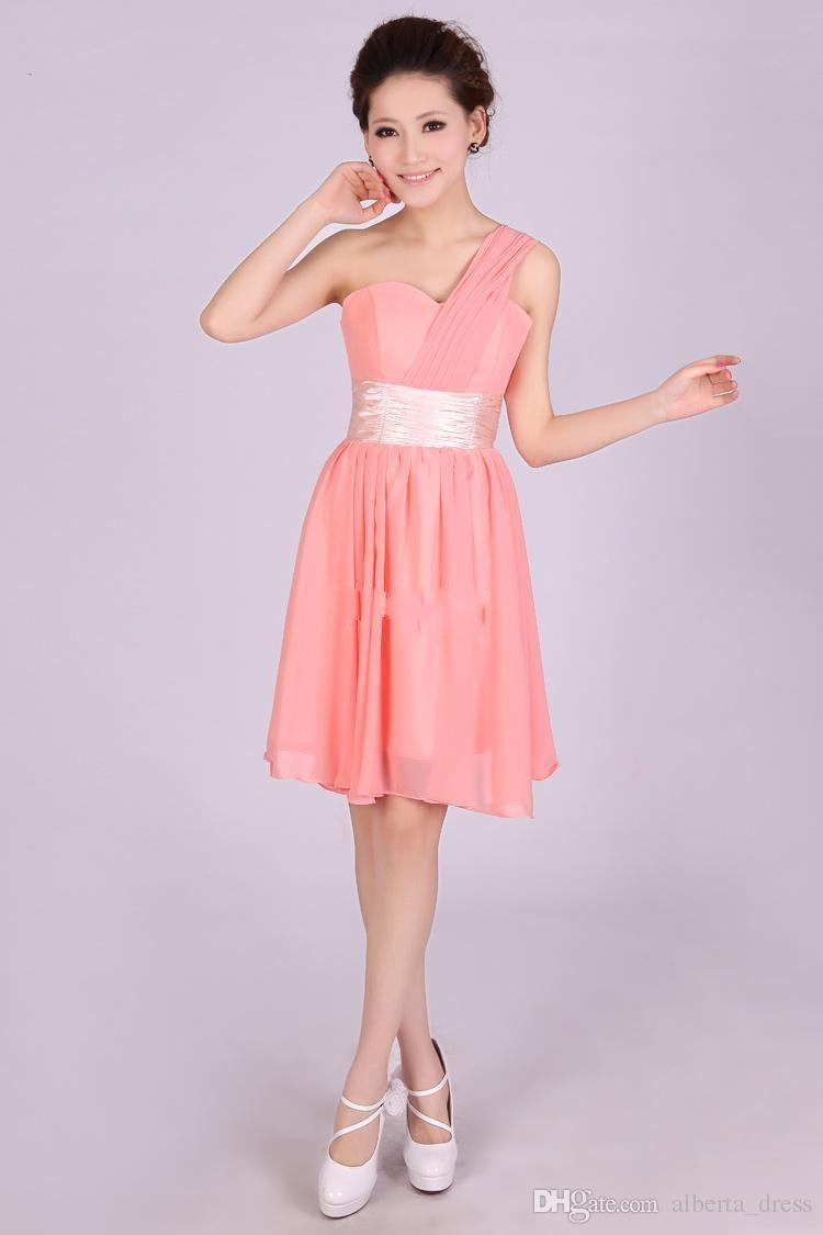 2015 nouvelle arrivée en stock pas cher prix vente chaude courte robes de demoiselle d'honneur une épaule longueur au genou mousseline de soie livraison gratuite robes de bal