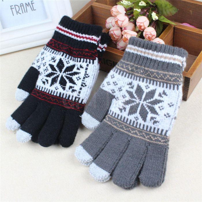 Теплая зима сенсорный экран перчатки для смартфонов планшетных ПК с пятью пальцами женские перчатки Снежинка рукавицы 50 пара