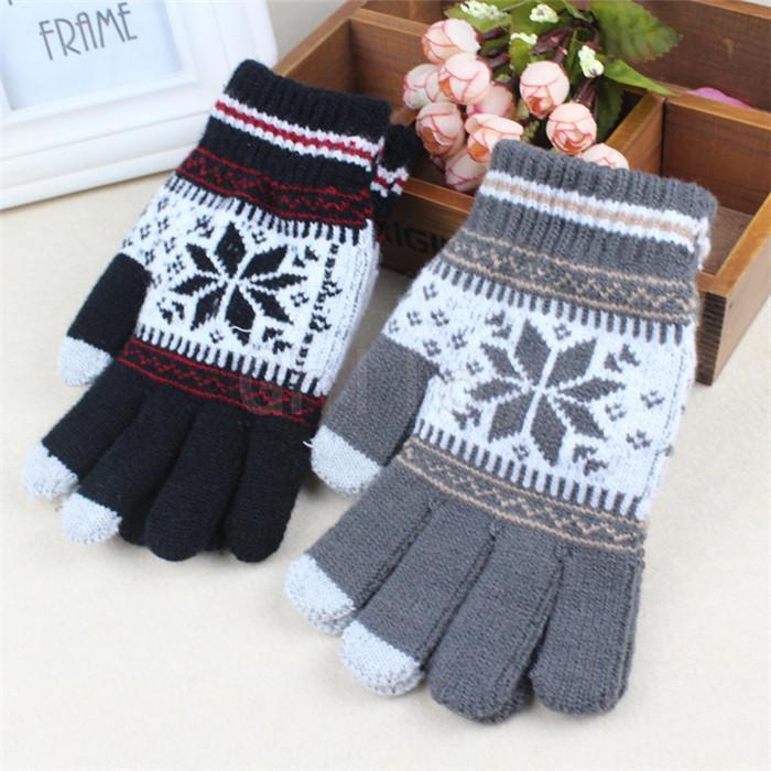 Warme Winter-Touchscreen-Handschuhe für Smartphone-Tablet-PC mit fünf Fingern Handschuhe der Frauen Schneeflocke Arm Mittern 50 Paar