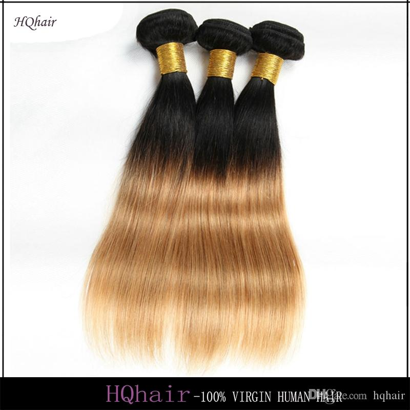 1B/27# Virgin Brazilian Human Hair Bundles 3Pcs/Lot Ombre Hair Weaves Silky Straight Remy Hair Weft 6A HQhair