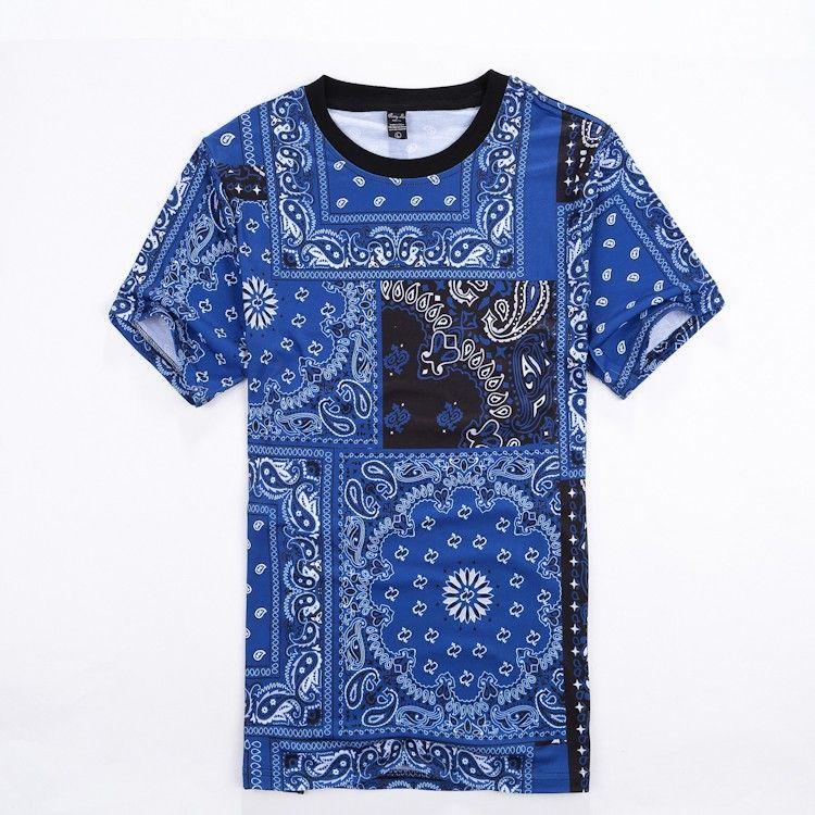 Tide Marca dos homens T-Shirt Casual Bandana Impresso manga Curta Crewneck camiseta Hip Hop Rua tops tees