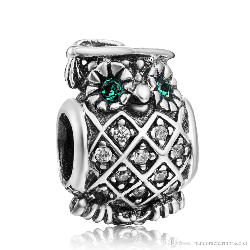New! 925 Sterling Silver Bead Owl Doctor With Crystal Eyes European Charms Silver Beads For Pandora Snake Chain Bracelet DIY Jewelry