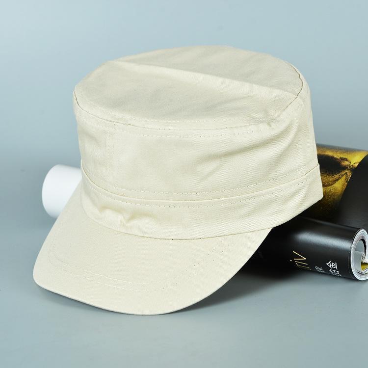 놀라운 여름 패션 남성 캐주얼 코튼 공 모자 단단한 평면 탑 모자 군사 모자 조정 가능한 야외 모자 5 색