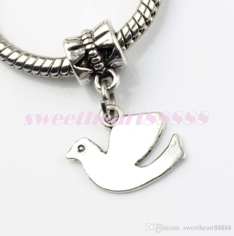Peace Dove Flying Alloy Metal Big Hole Beads Tibetan Silver Fit European Charm Bracelets Jewelry DIY B173 23.8x13.8mm