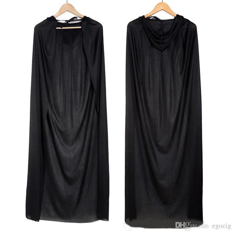 2015 HOT Halloween Costume Theatre Prop Death Hood Cloak Devil Long Tippet Cape Black Free FedEx DHL