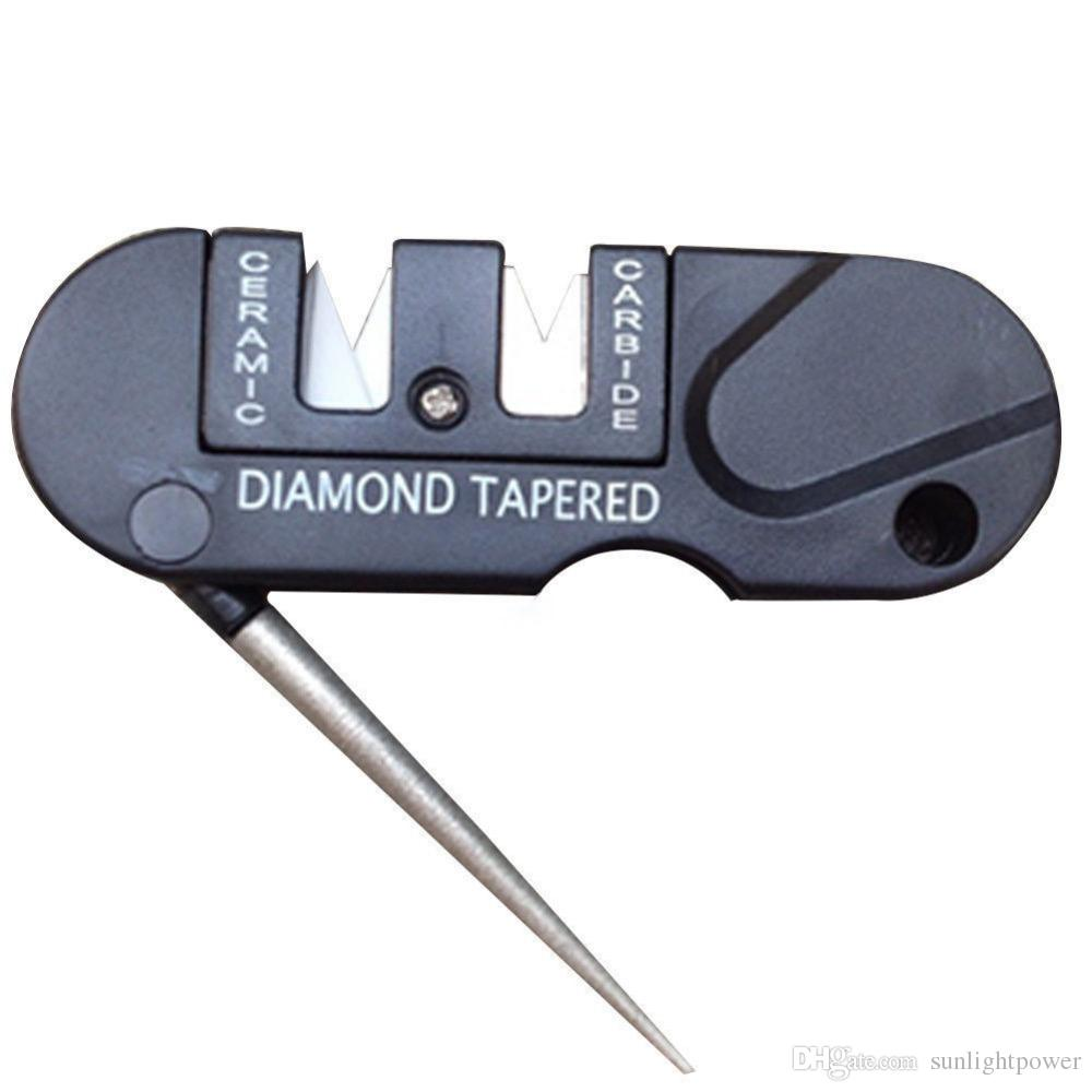 New Three Stages Ceramic Carbide Diamond Knife Sharpener Pocket Outdoor EDC Tool Fish Hook Professional Sharpening Stone