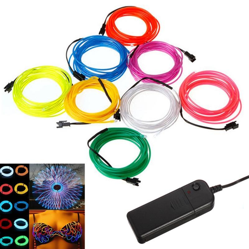 5M EL Wire Tube Rope Battery Powered Flexible Neon Light Car Party ...