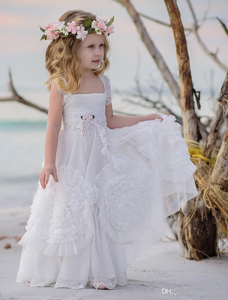 Lovely Flower Girl Dresses For Weddings Ruffled Kids Pageant Gowns Special Occasion Wear Floor Length Lace Party Communion Dress Sash