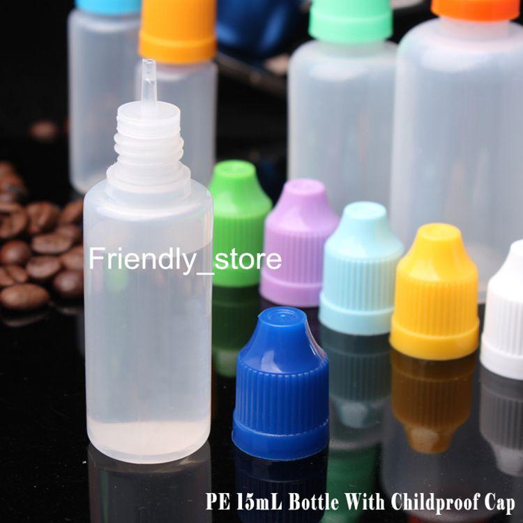 Colorful PE Plastic Bottle 15ml E-cig E-liquid Dropper Bottles With Child proof Caps Needle Tips E liquid DHL Free
