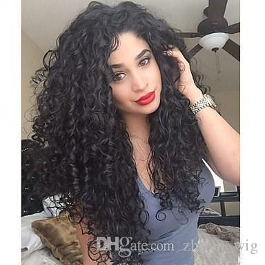 Z&F Afro Curly Wig Black Curly Wigs 20Inch Long Rose Hair Net Full Syhtnetic Fiber Christmas Fashion Gift Normal Wave