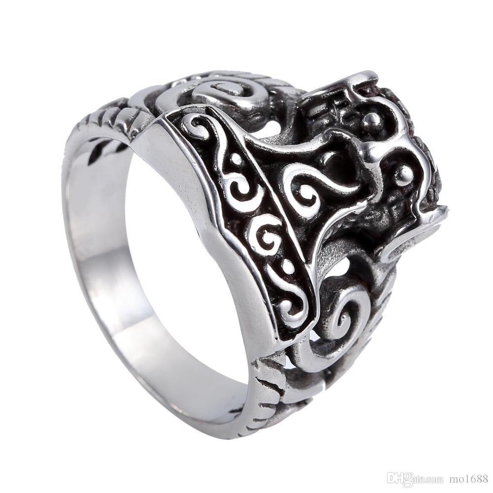 2018 Celtic Norse Myth Viking Gods ThorS Hammer Mjolnir Ring For
