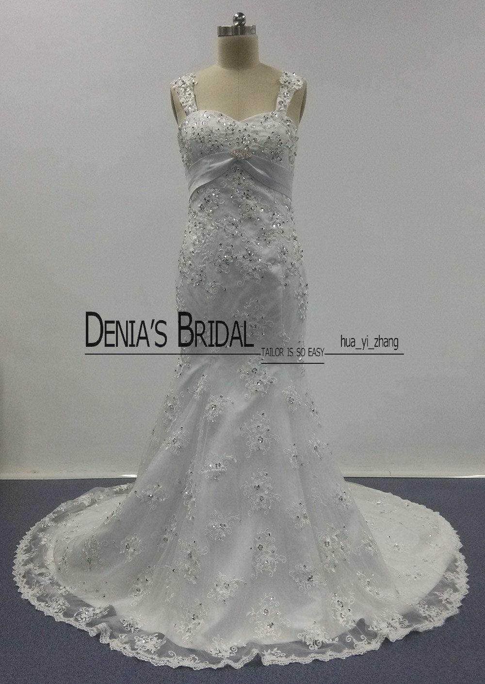 2016 полный кружева свадебные платья дешевые Русалка милая декольте со съемными ремнями суд поезд с покрытыми пуговицами и брошью