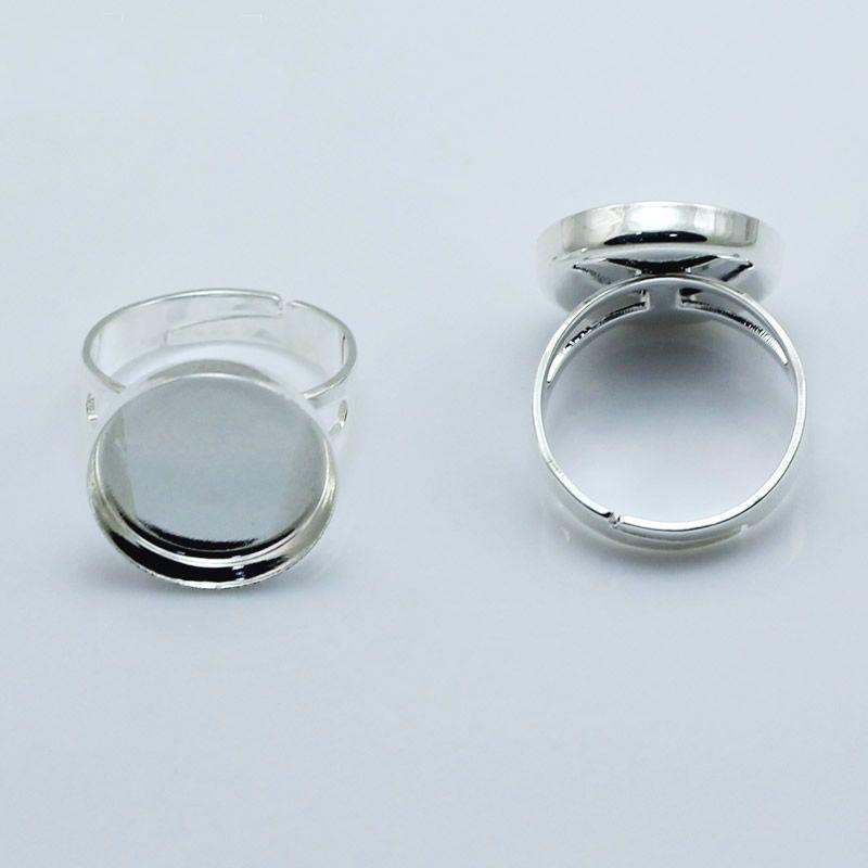Beadsnice ювелирные изделия кольцо Оптовая кольцо заготовки безель установка подходит 18 мм круглый Камея или кабошоны регулируемый палец кольцо база ID 27558