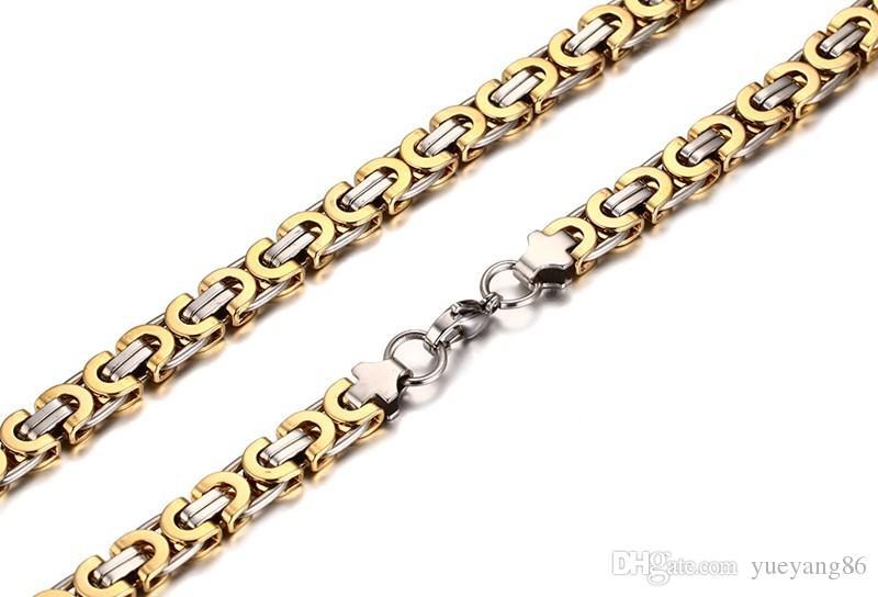 Mode haute qualité en acier inoxydable 316L argent or deux tons plat Byzantine lien chaîne collier + bracelet ensemble de bijoux unisexe