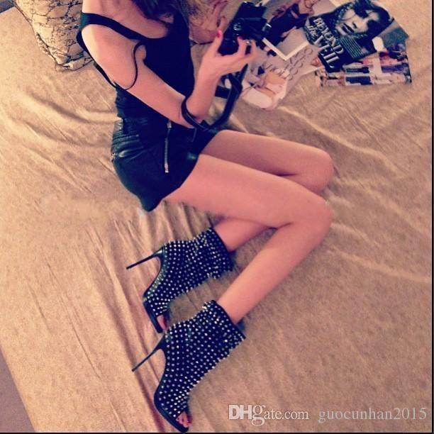 2017 Punk Patik Gladyatör Yüksek Topuklu Sandalet Çizmeler Kadın Ayakkabı Pompaları Kadın Peep Toe Perçinler Kadın Çizmeler Kadın Moptorcycle Kadın Için Çizmeler