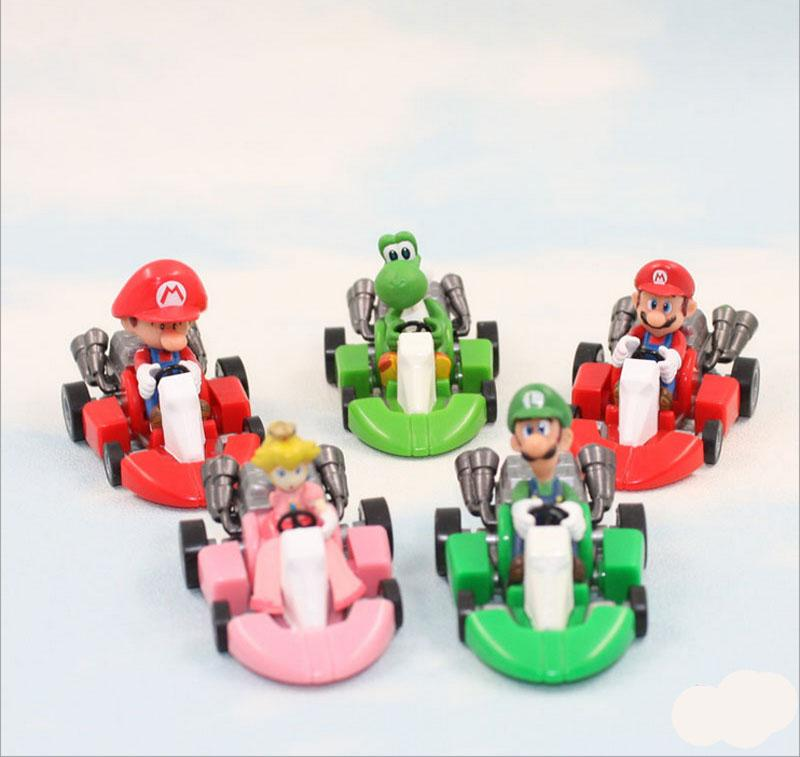 Super Mario Bros Kart Pull Back Car toys 5 design DHL Free new children PVC Super Mario Bros 3cm Animation game series toy B001