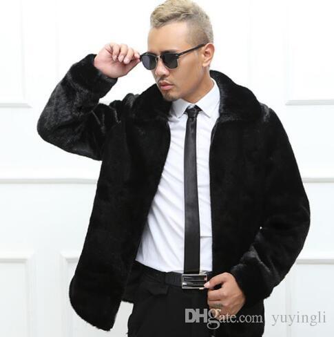 b164c0aa7404 Warm Casual Faux Rabbit Fur Coat Mens Leather Jacket Men Coats ...